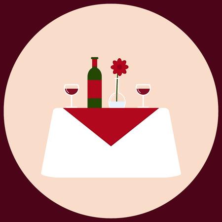Eettafel. Romantisch diner voor twee. Geïsoleerde tafel op de achtergrond. Witte tafel met wijn, glaswerk, vaas en bloem. Eetkamermeubilair. Vlakke stijl vector illustratie in retro kleuren. Vector Illustratie