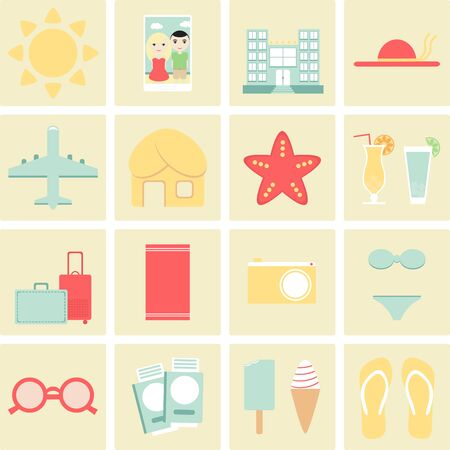 summer vacation: Vacation. Summer vacation. Vacation icons set. Collection of summer vacation icons. Vacation travel icons. Hotel, airplane, passport and other elements. Flat style vector illustration.