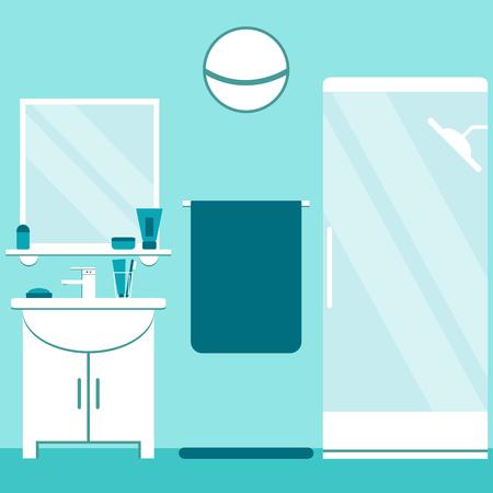 Modern bathroom interior design in blue and white colors. Flat style bathroom elements: washbasin, shower, mirror. Vector illustration.