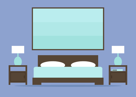 hotel bedroom: Bedroom. Bedroom interior. Modern bedroom interior with bed and night lamps. Contemporary wooden furniture. Hotel bedroom. Apartment bedroom. Flat style vector illustration.