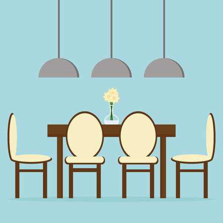 dining table and chairs: Modern dining room interior design with table, chairs and lamps. Flat style vector illustration.