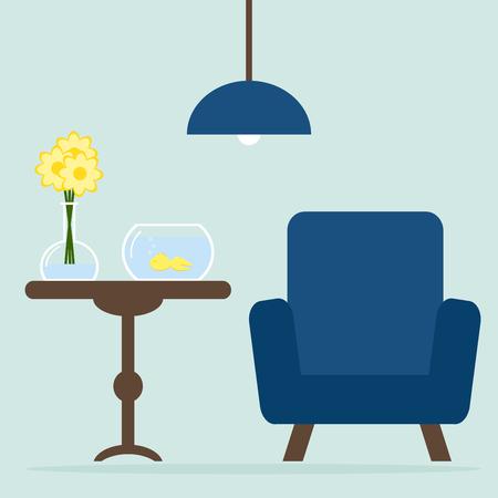 #50354171   Moderne Wohnzimmer Interieur Mit Sessel, Tisch, Aquarium.  Blumen. Wohnung Stil Vektor Illustration.