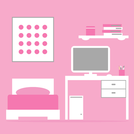 playroom: Girl bedroom interior with bed, table, computer in pink and white colors. Flat style vector illustration.