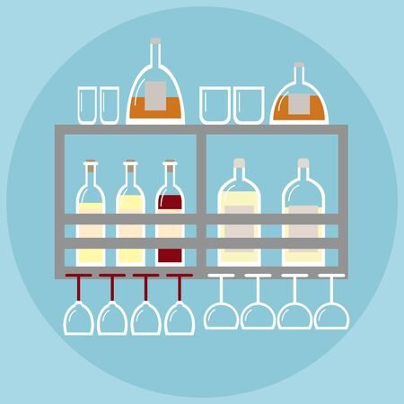 stemware: Home bar. Bar on the shelf in modern style with stemware and bottles of alcohol. Alcohol bottles. Alcohol bar. Flat style vector illustration. Illustration