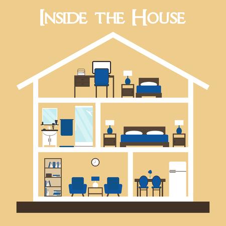 家。家のインテリア。家の中。家のクロス。家具とかわいいドールハウス。家のベクトル。背景の家セクション。フラット スタイルの家具図家シル