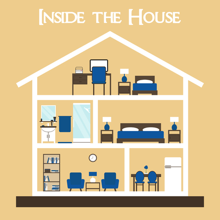 cross: House. House interior. Inside the house. House cross. Cute dollhouse with furniture. House vector. House section on background. Flat style vector illustration house silhouette with furniture.