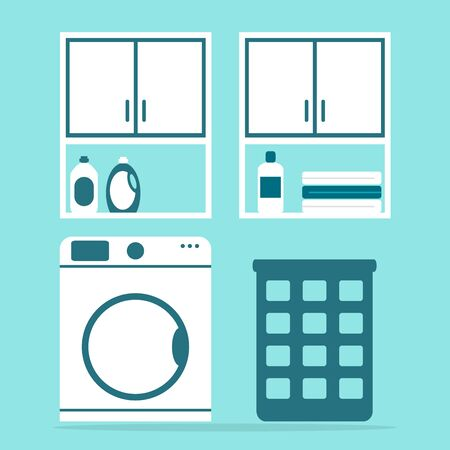 washing powder: Laundry. Modern laundry with washing machine and washing powder. Bathroom appliances. Apartment cleaning elements. Flat style vector illustration.