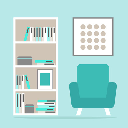 living space: Living room interior reading space with modern armchair, bookcase and picture frame. Flat style vector illustration.