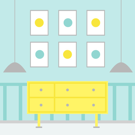 Living room. Modern living room interior with furniture. Chest of drawer. Lamps and pictures. Flat style vector illustration. Illustration