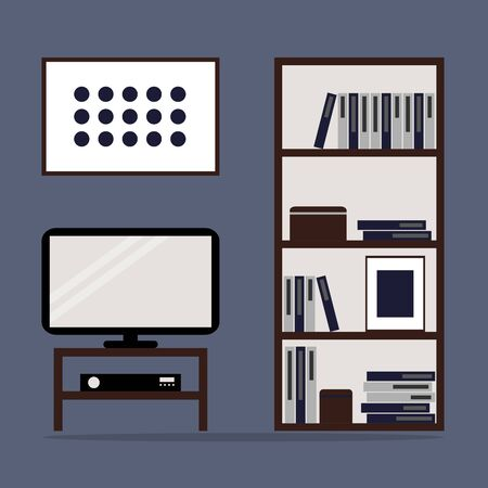 bookcase: Living room interior design with bookcase and TV. Flat style vector illustration. Illustration