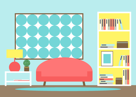 home deco: Living room. Modern living room interior with furniture. Sofa, bookcase, picture, lamp. Modern furniture. Living room apartment. Flat style vector illustration.