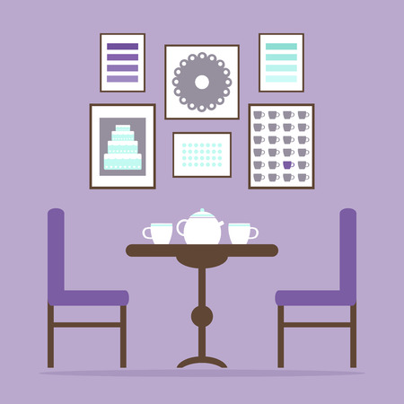lifestyle dining: Dining room. Classic dining room interior. Tea time in the dining room interior with table, chairs, tea cups and pictures on the wall. Wooden furniture. Flat style vector illustration.
