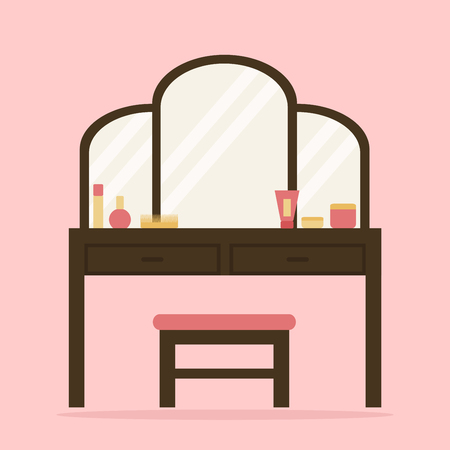 console table: Woman dressing table with big mirror, chair and cosmetic. Flat style vector illustration.