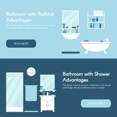 advantages: Modern bathroom. Bathroom interiors horizontal flat banner set. Bathtub and shower advantages. Isolated bathroom furniture concept design. Flat style vector illustration.