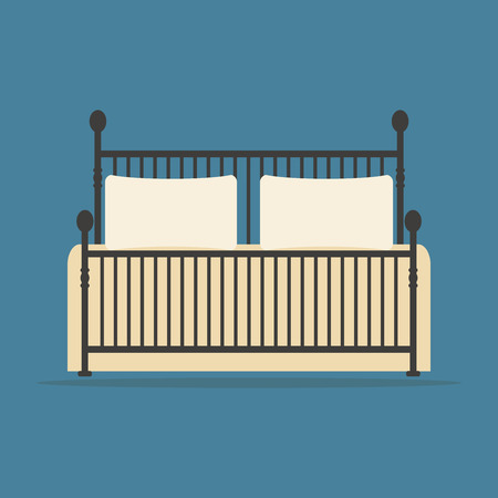 forged: Vintage forged bed with pillows and blanket. Flat style vector illustration. Illustration