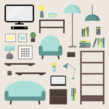 modern living room: Living room. Living room elements set. Living room interior design isolated icons. Apartment elements. Big living room icons set. Modern furniture. Couch, bookcase. Flat style vector illustration. Illustration
