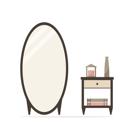 bedside: Big dressing mirror with nightstand isolated icon. Bedside table with candle, vase and books. Classic bedroom furniture. Bedroom interior design. Flat style vector illustration.