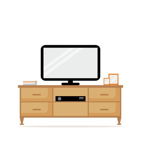 tuner: TV table with TV set isolated icon. TV set with tuner. Modern wooden furniture. Living room interior. Flat style vector illustration. Illustration