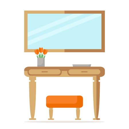 wooden furniture: Modern hall interior design with table, mirror and ottoman. Wooden furniture. Decorated with flowers in vase and box. Flat style vector illustration.