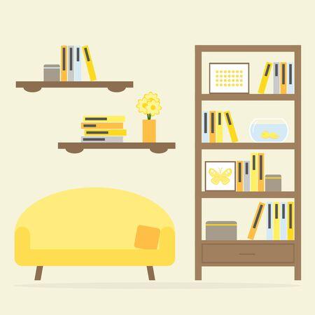 living room design: Modern living room interior design with furniture.