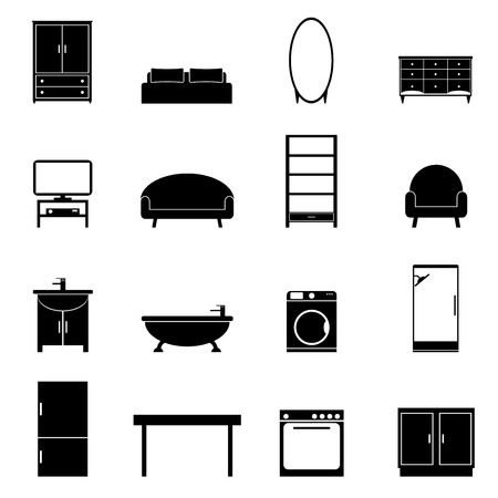 kitchen furniture: Furniture isolated icons set. Modern black furniture for apartment on white background. Bedroom, living room, bathroom and kitchen. Flat style vector illustration.