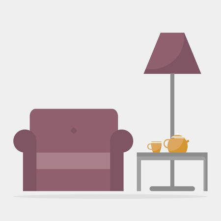 coffee table: Armchair with coffee table and floor lamp. Modern living room interior. Colored furniture. Flat style vector illustration. Illustration