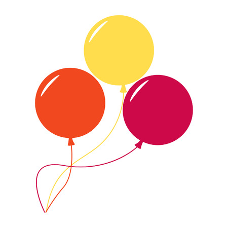 three objects: Balloons isolated icon on white background. Three colorful balloons. Flat style vector illustration.