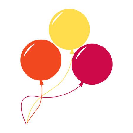 Palloncini isolato icona su sfondo bianco. Tre palloncini colorati. Piatto stile illustrazione vettoriale.