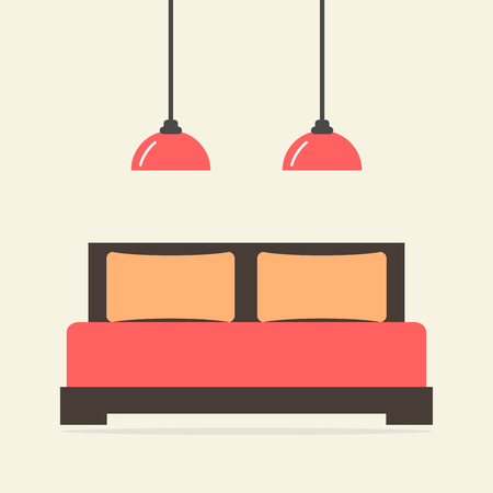 hotel bed: Bed isolated icon. Modern bedroom interior. Wooden furniture. Bed with pillows and blanket. Flat style vector illustration. Illustration