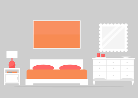chest wall: Bedroom interior design. Modern bedroom furniture: bed, chest of drawer, nightstand. White furniture on grey background. Flat style vector illustration.