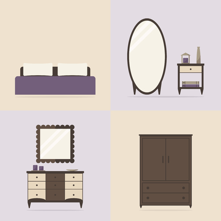 bedroom interior: Bedroom interior set. Modern furniture: bed, mirror, nightstand, chest of drawer, wardrobe.