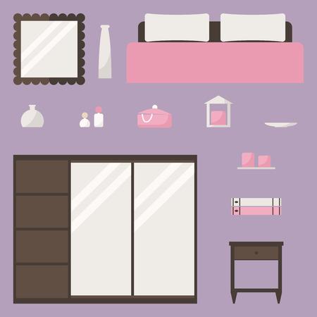 bedroom furniture: Bedroom isolated elements. Modern wooden bedroom furniture. Flat style vector illustration.