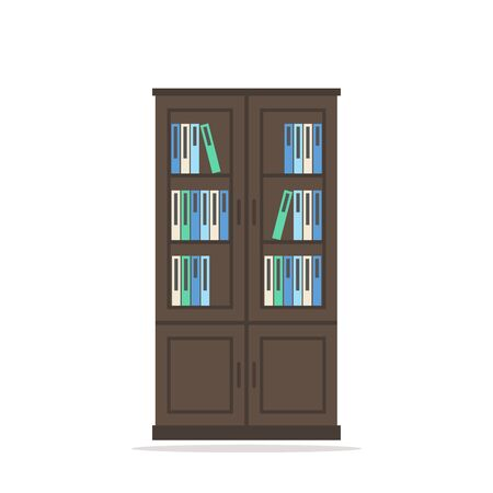 bookcase: Bookcase. Bookcase isolated icon. Big wooden bookcase with books on white background. Big bookcase. Modern furniture for living room or home office. Flat style vector illustration.