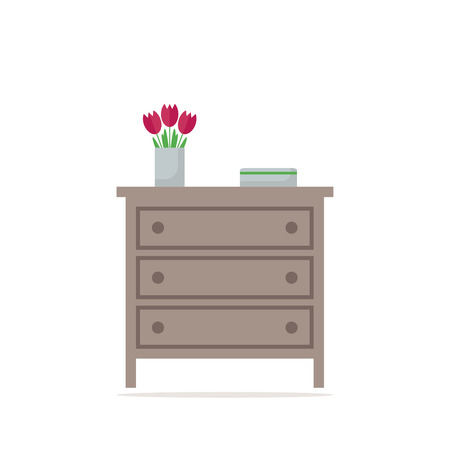 highboy: Chest of drawer icon. Isolated element on white background. Contemporary furniture for bedroom or living room. Flat style vector illustration. Illustration