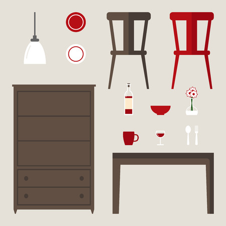 dinner date: Dining room elements isolated set. Modern furniture: dinner table, cupboard, chair, lamp and other stuff. Flat style vector illustration. Illustration