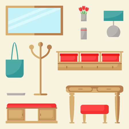 Zestaw elementów hali. Projekt wnętrza przedpokoju. Nowoczesne meble: wieszak, stół, hoker, ława, lustro, półka. Ilustracja wektorowa płaski. Ilustracje wektorowe