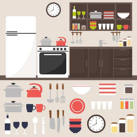 modern kitchen: Kitchen. Kitchen interior. Kitchen room isolated elements. Modern kitchen interior. Fridge, stove, table, kitchenware and kitchen appliance. Kitchen furniture. Flat style vector illustration.