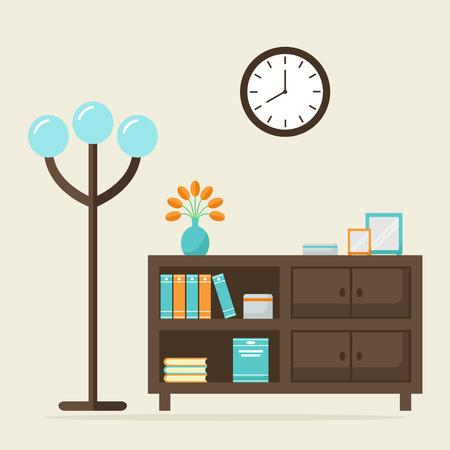 reloj pared: sala de estar entre contemporánea. aislados de madera modernos elementos de mobiliario: estantería, lámpara de pie y despertador. Lectura lugar entre el diseño. ilustración vectorial de estilo plano.