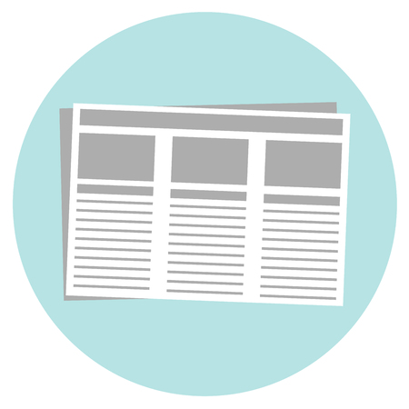 gazette: Newspaper isolated icon on white background. Flat style vector illustration. Illustration