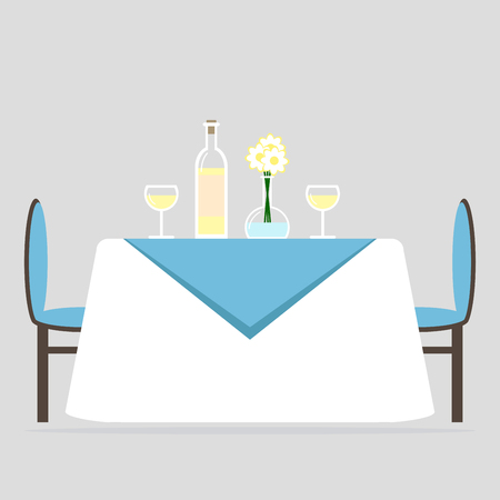 Dining room interior design. Romantic dinner for two. Table with tablecloth and two chairs. Flat style illustration. Vektorové ilustrace