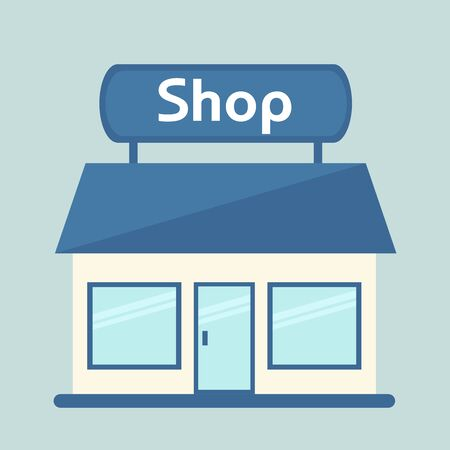 mart: Shop isolated icon. Modern shop building. Cute shopping center. Flat style illustration. Illustration