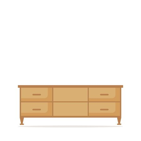 living room tv: TV table isolated icon on white background. Modern wooden furniture for living room. Flat style vector illustration.