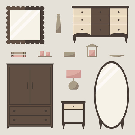 bedside: Wardrobe set. Wardrobe, chest of drawer, mirror, bedside table and decor. Flat style illustration.