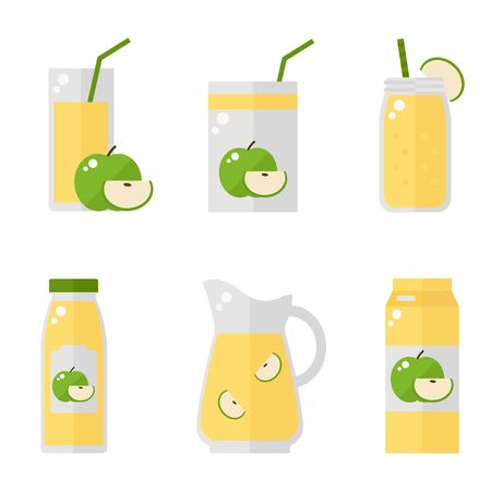 juice bottle: Apple juice isolated icons on white background. Apple juice bottle, glass, pack set. Flat style vector illustration. Illustration