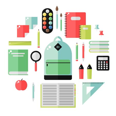pen and marker: School supplies isolated icons on white background. School books, backpack, pencil, ruler, notebook, paint, pen, marker, calculator, magnifier, apple. Education tools. Flat style vector illustration. Illustration