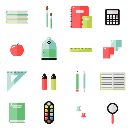 pen and marker: School supplies isolated icons on white background. School books, backpack, pencil, ruler notebook, paint, pen, marker, calculator, magnifier, apple. Education tools. Flat style vector illustration.