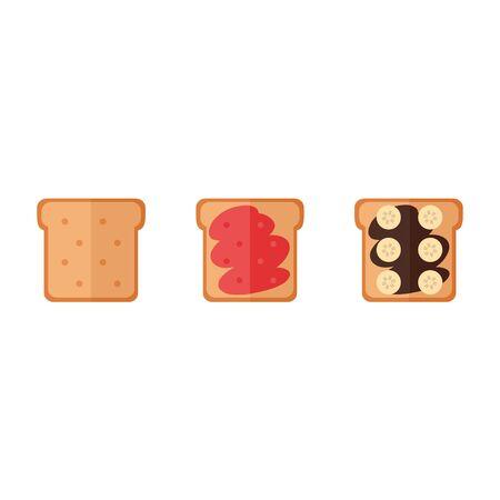 aislado pan tostado iconos en el fondo blanco. Tostada sándwich de pan con mermelada, crema de chocolate, plátano. Comida de desayuno. ilustración vectorial de estilo plano.