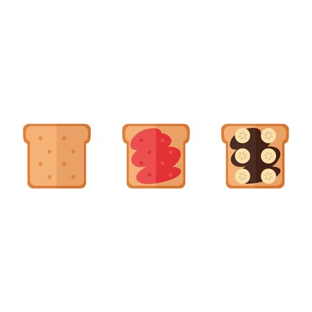 butter: Toast bread isolated icons on white background. Toast bread sandwich with jam, chocolate cream, banana. Breakfast food. Flat style vector illustration.