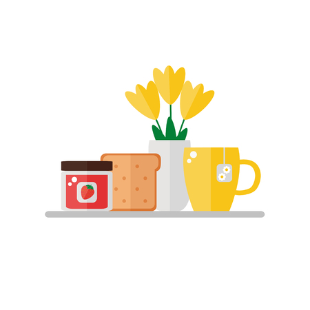Breakfast food on white background. Fruit jam, toast bread, cup of tea, vase of flowers. Flat style vector illustration.