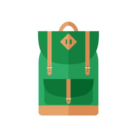 school sports: Backpack isolated icon on white background. For school, sports, camping, traveling. Flat style vector illustration.